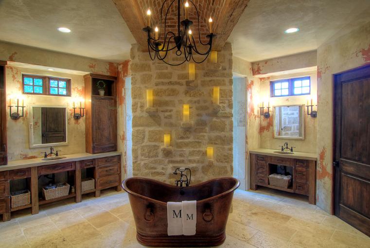 Farmhouse style master bathroom with iron fixtures.