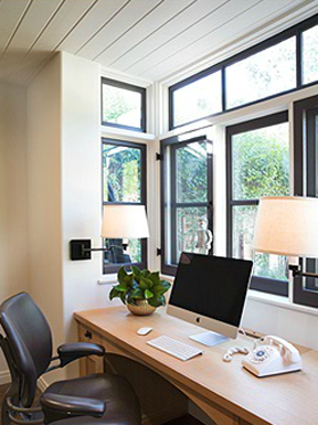 Home office with Laura Lee Designs sconces.