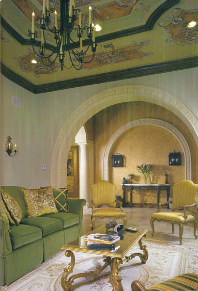 Iron chandelier and wall sconces.