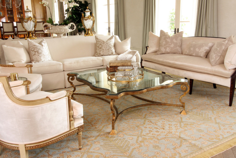 A custom antique gold coffee table in the formal living room.