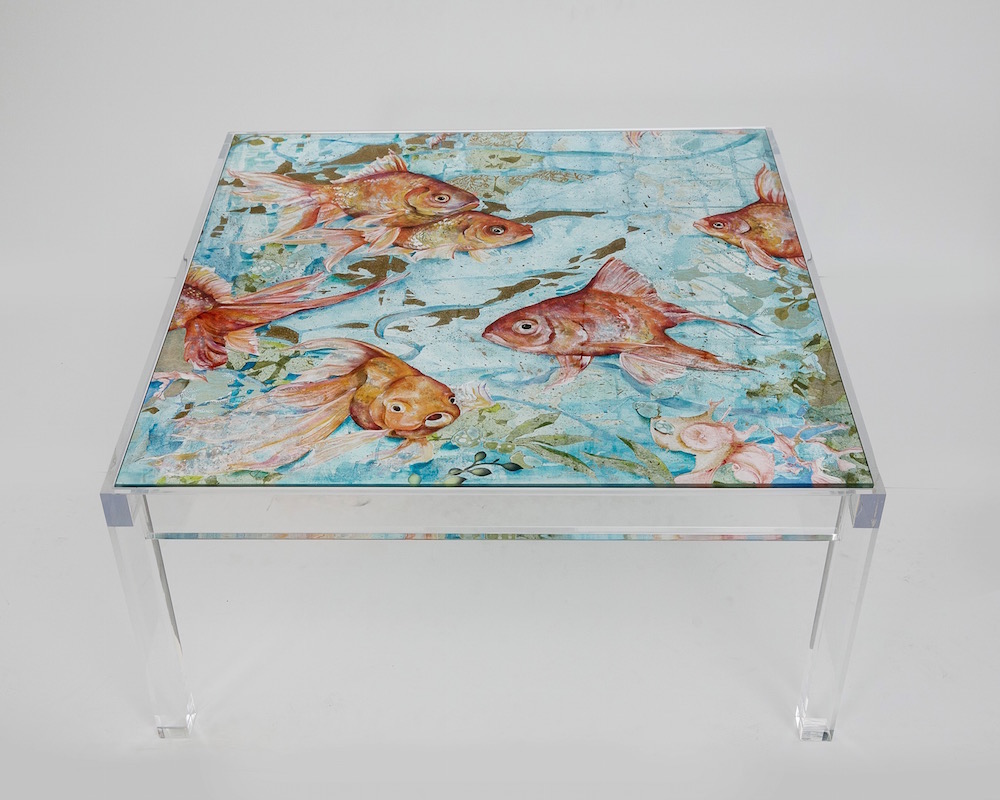 """FLOATING FISH:  36"""" square x 19"""" high,  $2000"""
