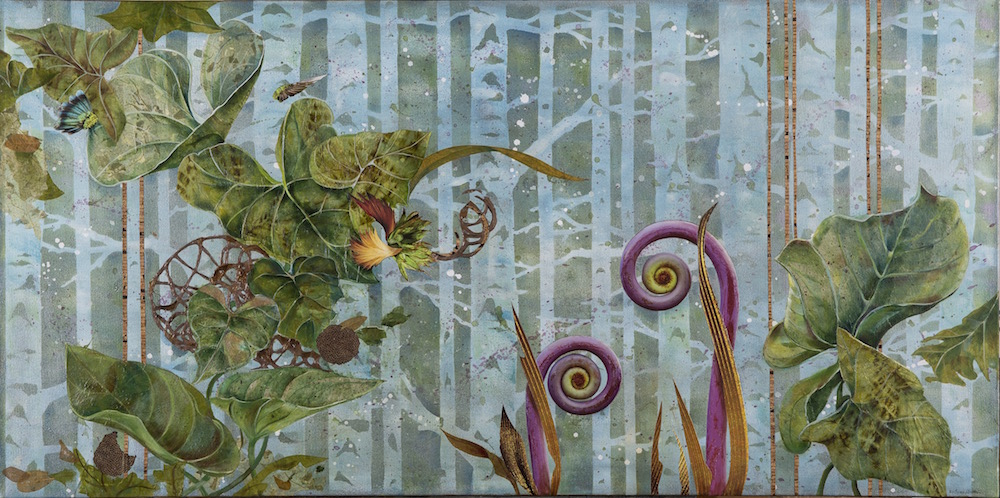 POD CAST, 24x48, mixed media collage on canvas, (2014)
