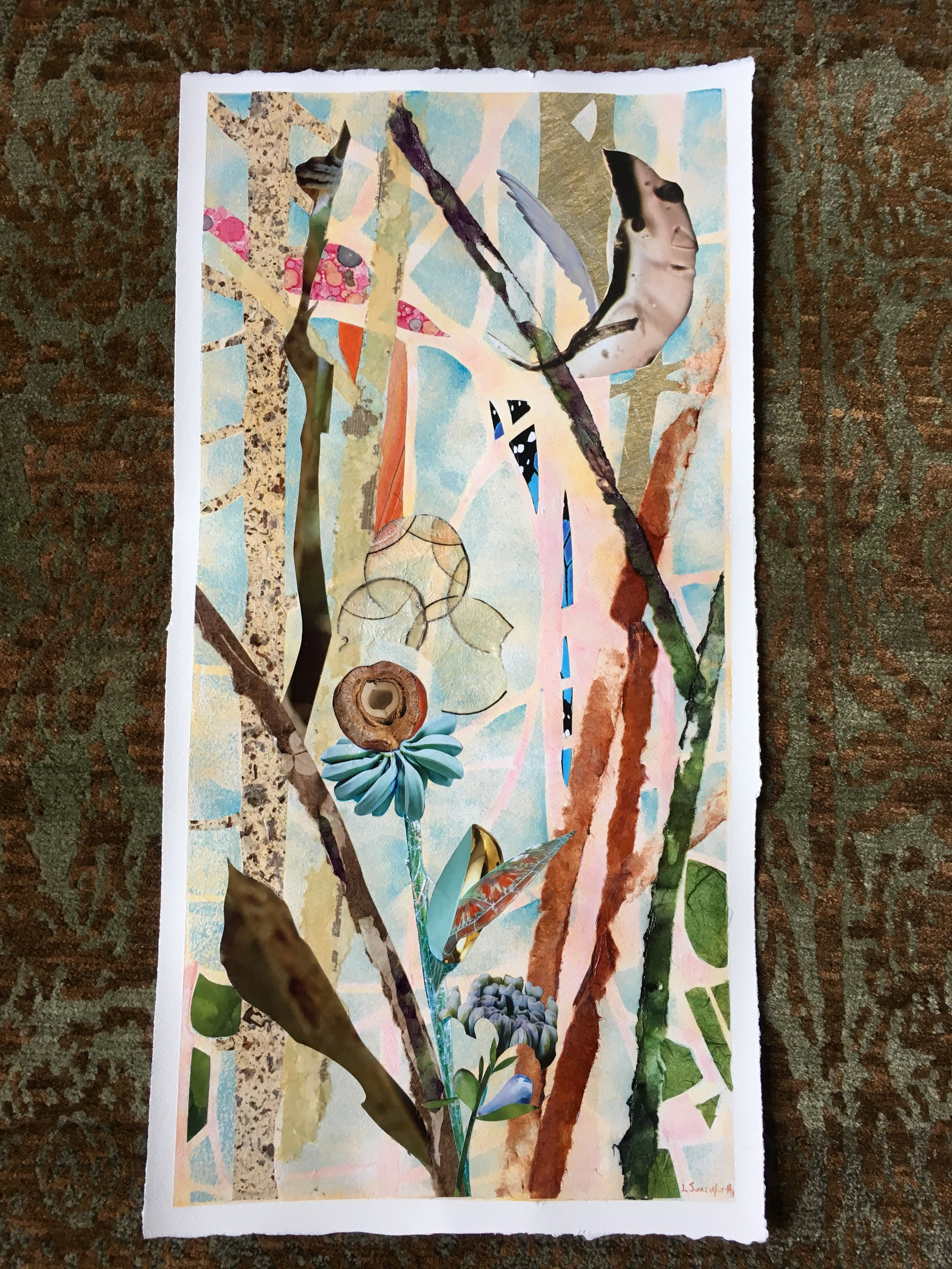 TREE SPIRITS II, 16x8, mixed media collage on paper (2017)