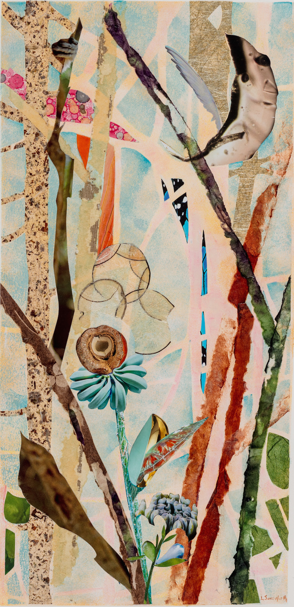 TREE SPIRITS II, 24x12, mixed collage on paper (2018)