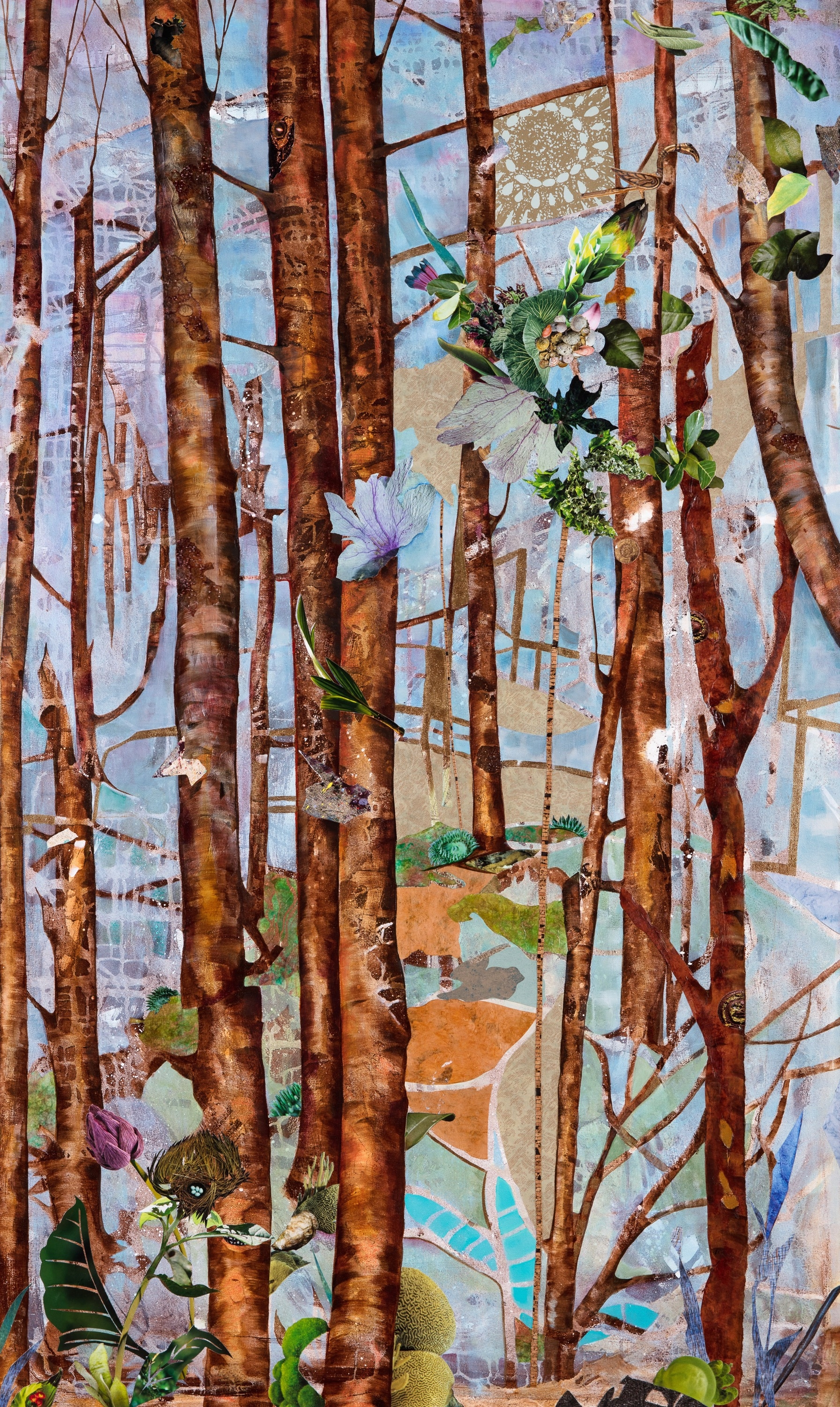 TRUNK SHOW I, 60x36, mixed collage on canvas (2017)
