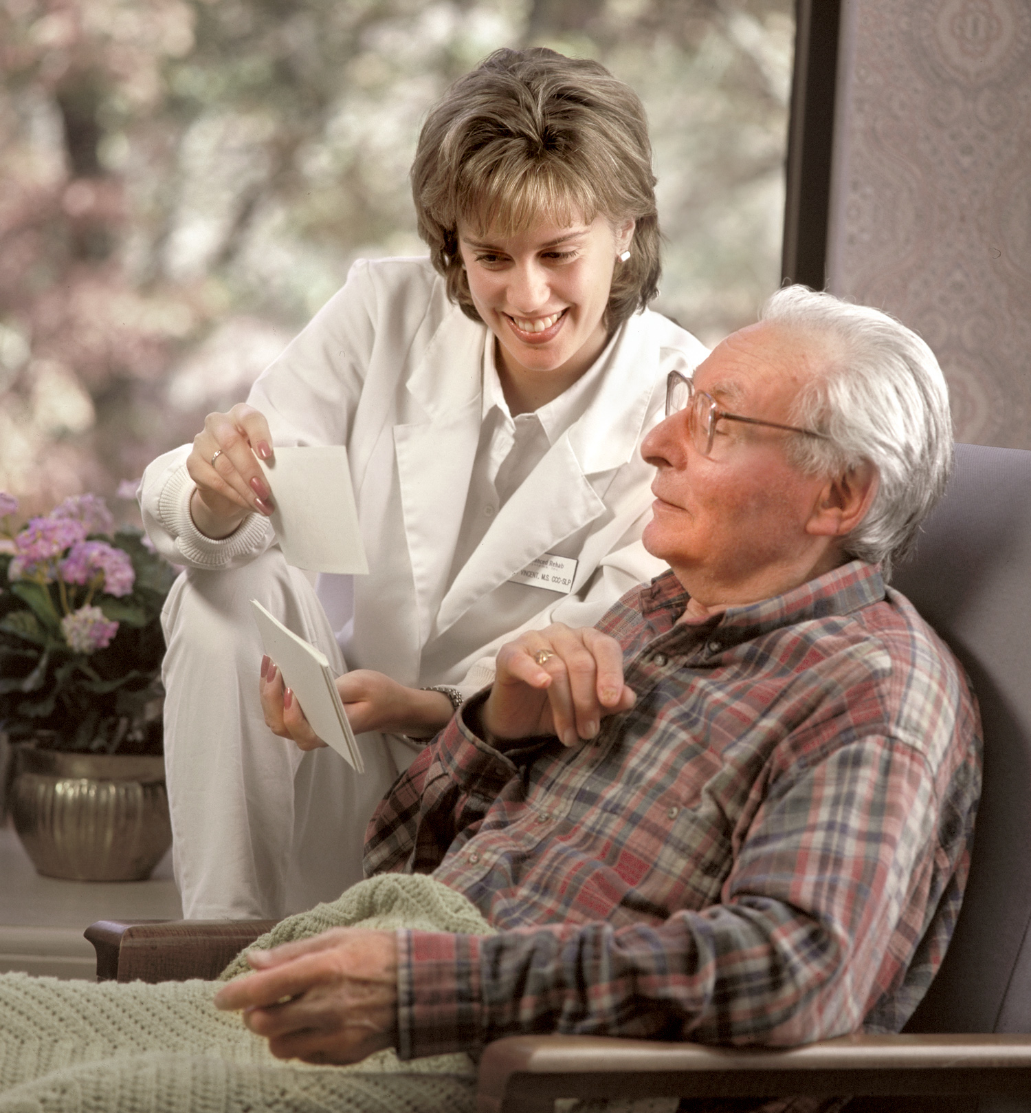 assisted living senior and nurse