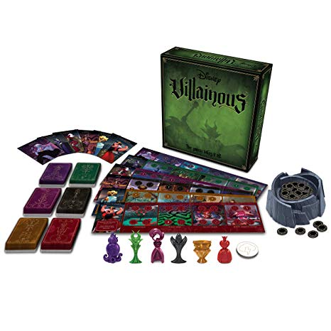 In   Villainous  , each player takes control of one of six Disney characters, each one a villain in a different Disney movie. Each player has their own villain deck, fate deck, player board, and 3D character.  On a turn, the active player moves their character to a different location on their player board, takes one or more of the actions visible on that space (often by playing cards from their hand), then refills their hand to four cards. Cards are allies, items, effects, conditions, and (for some characters) curses. You need to use your cards to fulfill your unique win condition.