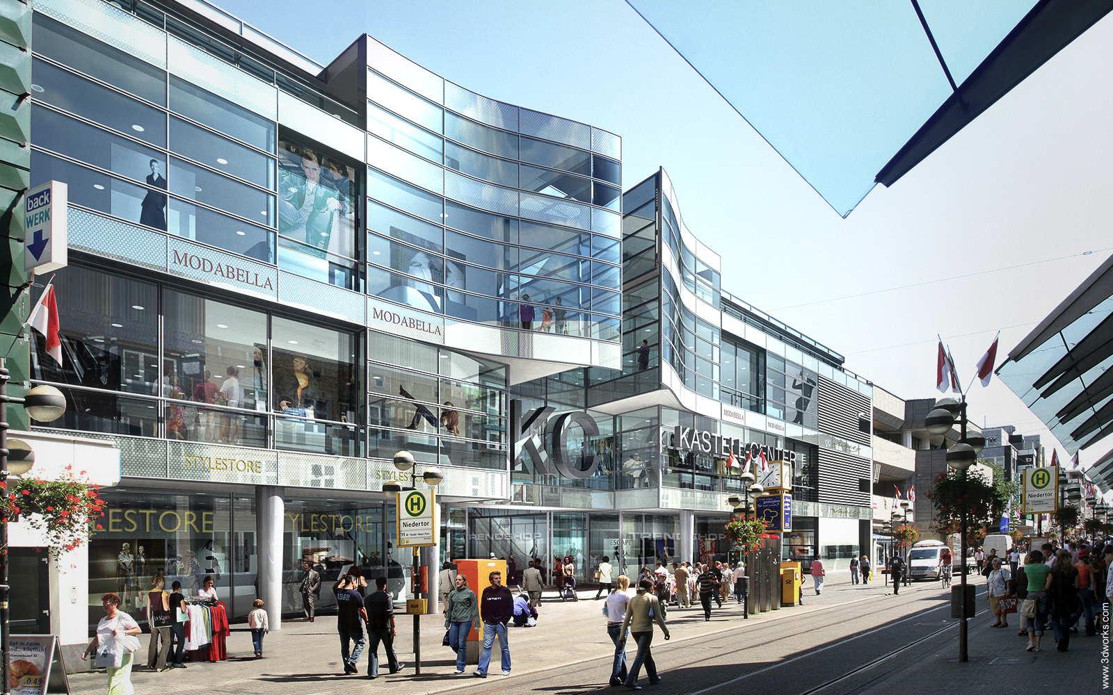 3D Visualisierung, Fassade eines Einkaufszentrums - Tenkhoff Properties