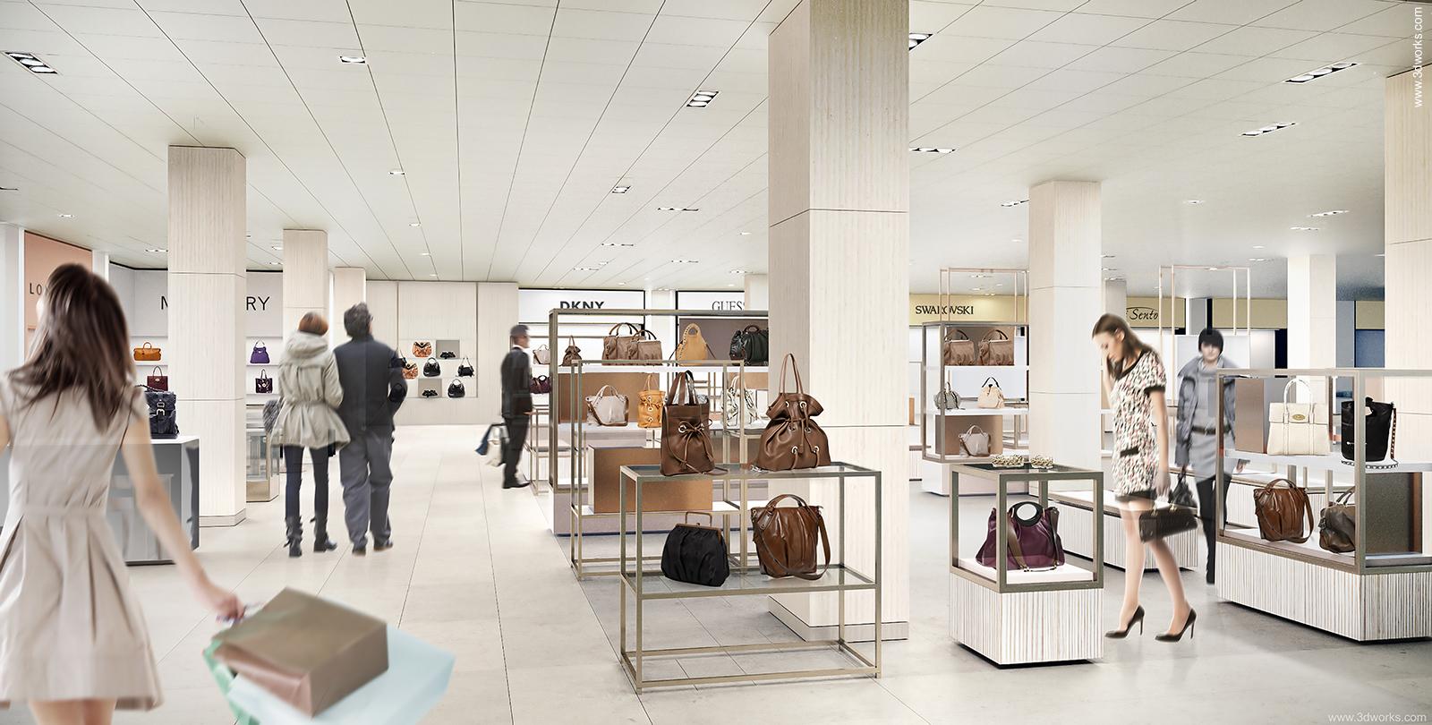 Architekturvisualisierung Retail, Innenraumperspektive für Michelgroup