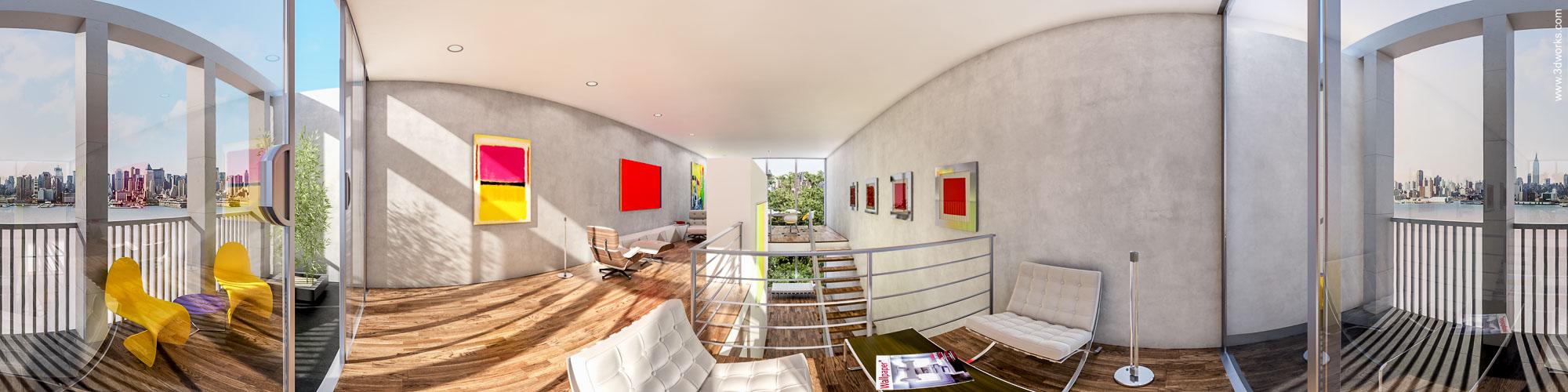 3D Visualisierung, Townhouse 180 Grad Panorama, Innenraumstudie