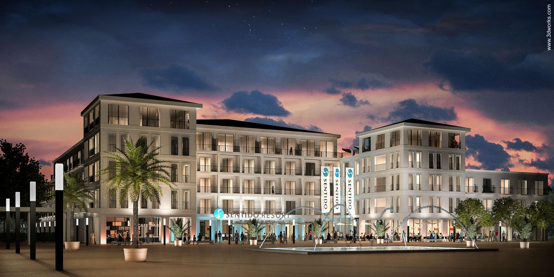 Architekturvisualisierung, Resort auf Norderney - Kunde: Tenkhoff Properties GmbH