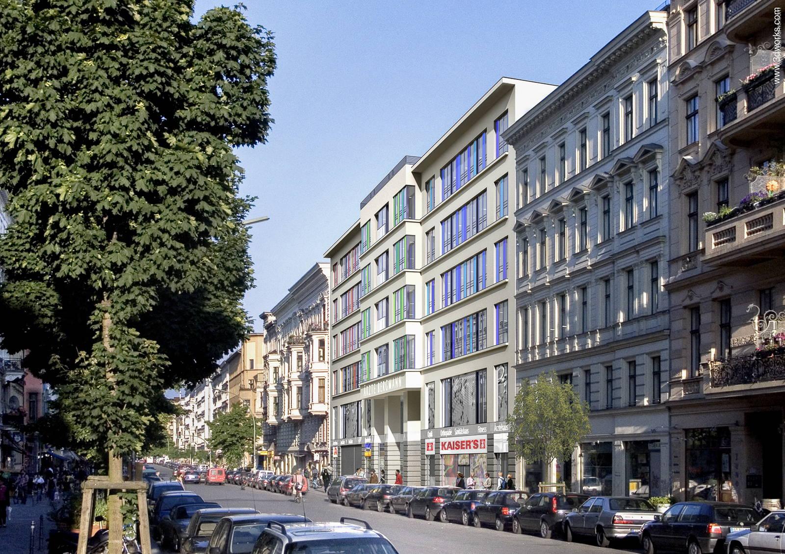 Architekturvisualisierung, Ärztezentrum Bergmannstraße, Berlin - Kunde: Aukett Heese
