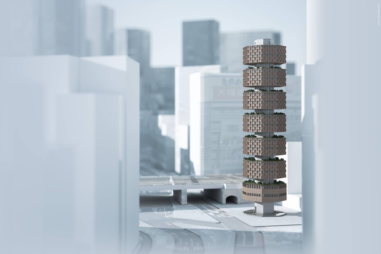 """""""Tokyo Vertical Cemetery"""", Wettbewerbsperspektive - Dreher Architekt, Berlin"""
