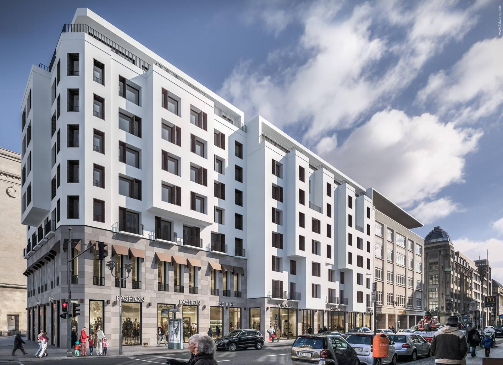 Architekturvisualisierung, Wohn- und Geschäftshaus Friedrichstraße, Berlin - Bollinger + Fehlig Architekten