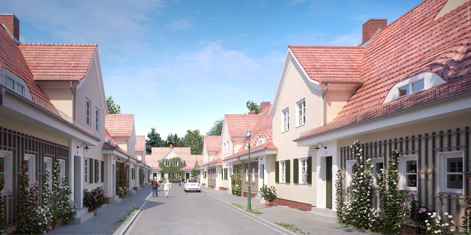 Architekturvisualisierung, Modernisierung einer Siedlung in Berlin, Visualisierung