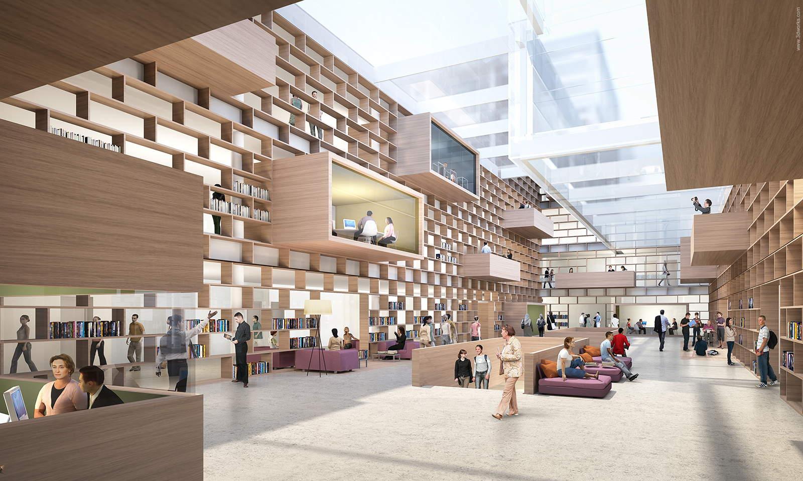 3D Visualisierung, Wettbewerbsperspektive, Innenraum / Dreher Architekt