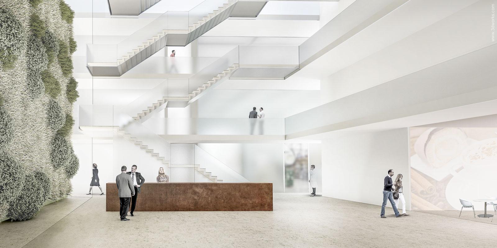 3D Visualisierung, Wettbewerbsperspektive / Raimar Herbst Architekten BDA