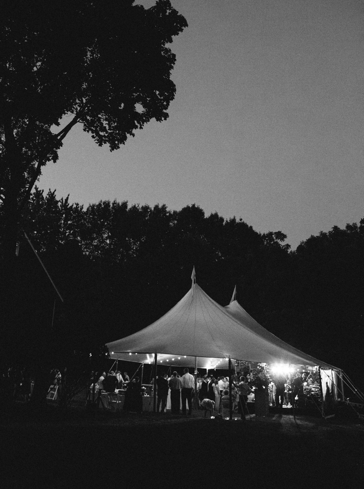 Wedding tent late at night