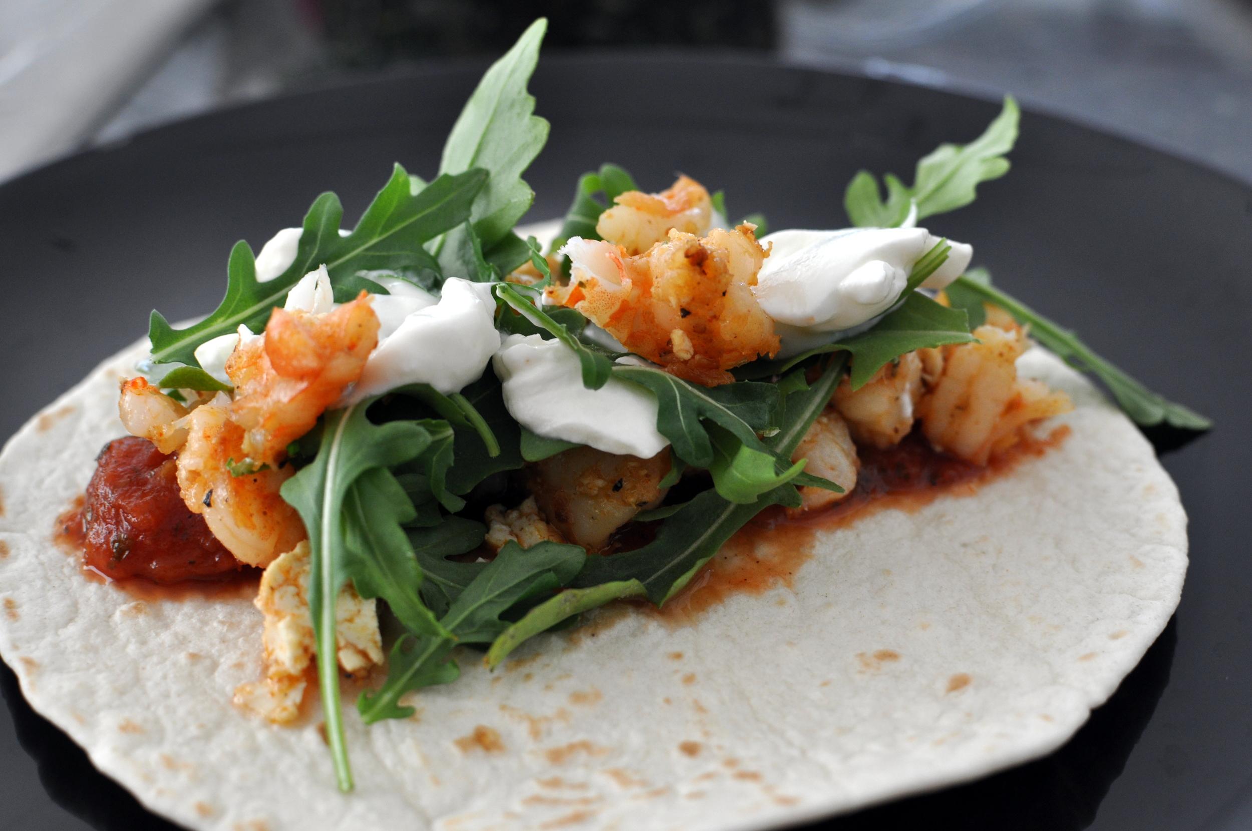 cajun spiced shrimp and tofu tacos