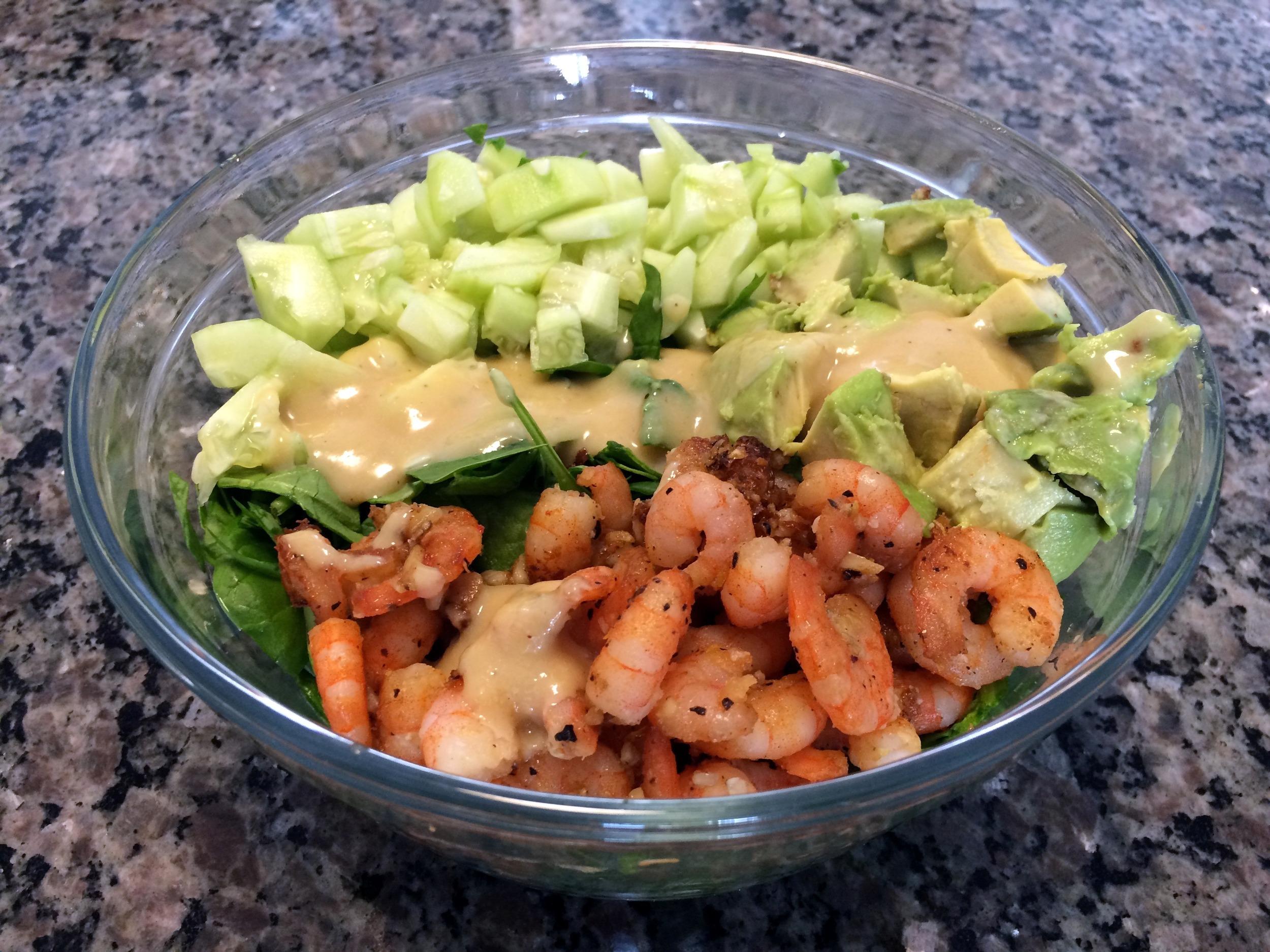 shrimp salad with miso dressing