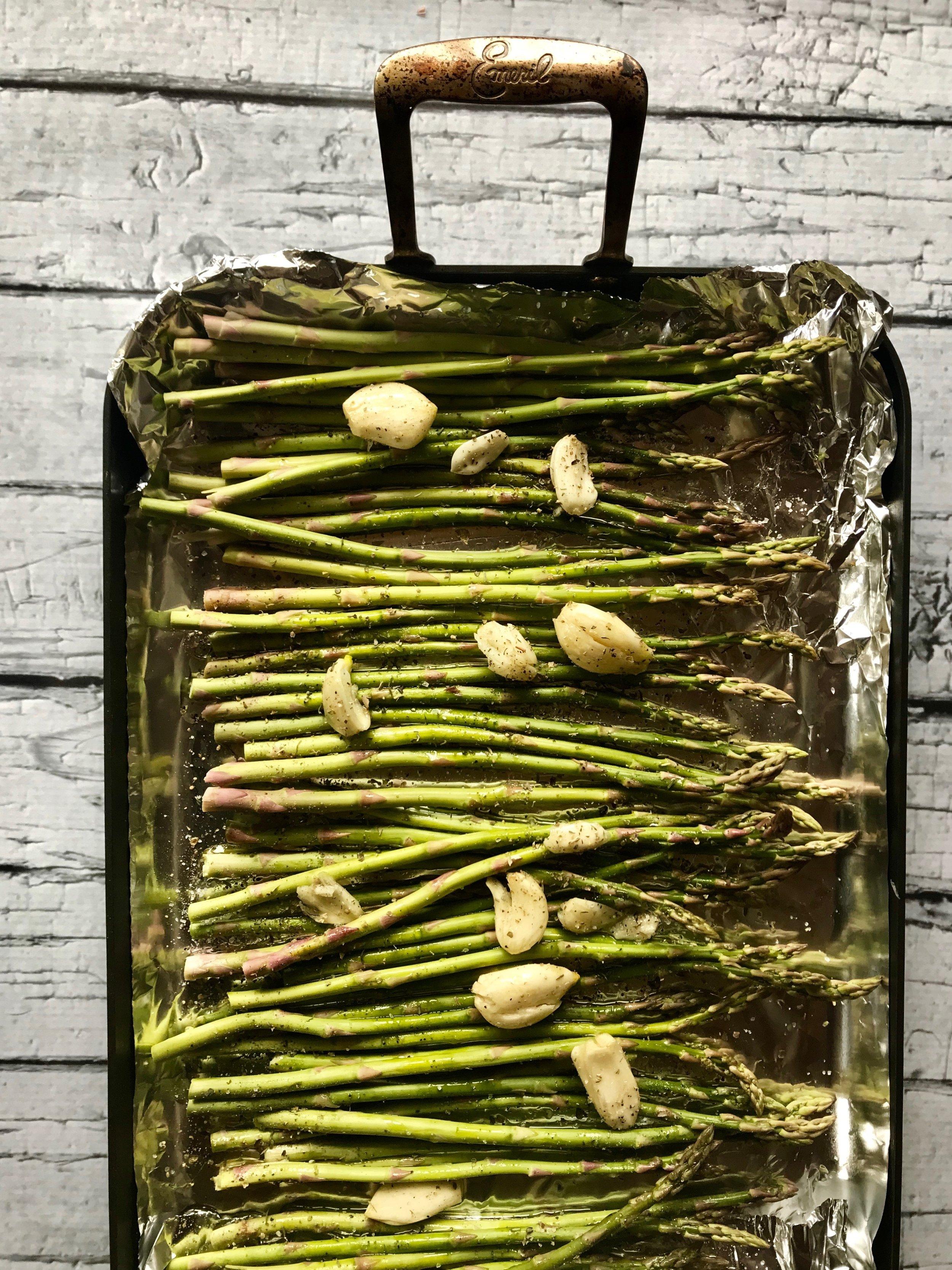 Roasted asparagus and garlic