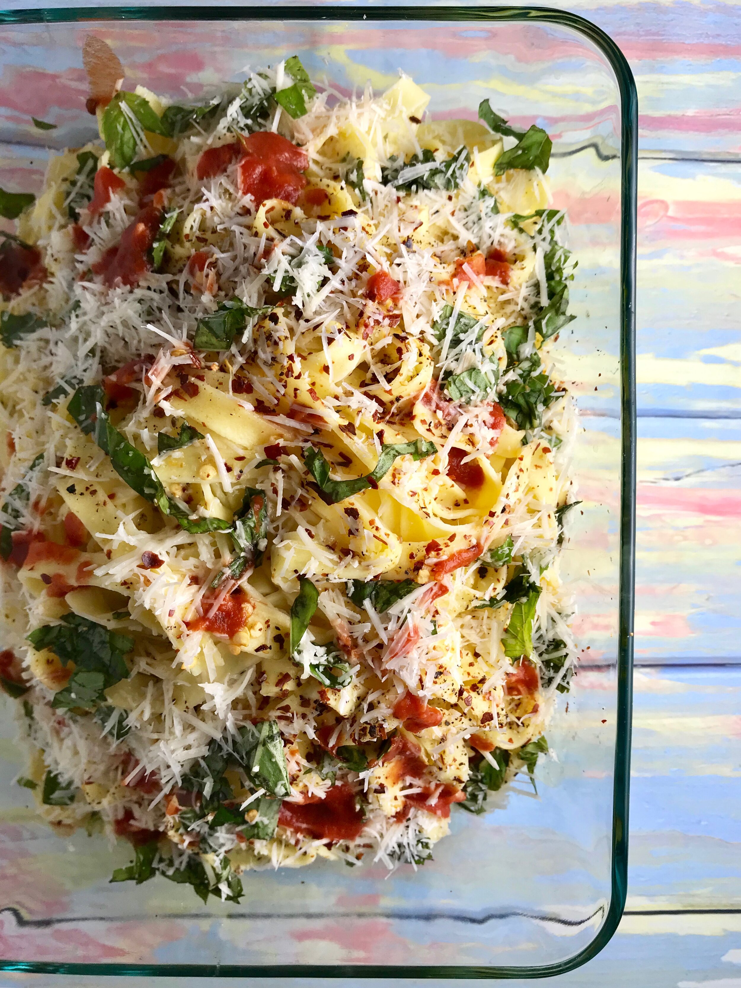 Tagliatelle pasta with basil and parmesan