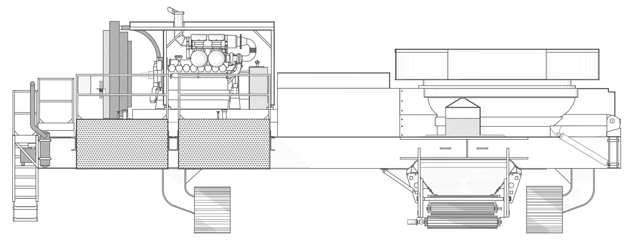 SWG1600      STANDARD FEATURES : Fluid coupling mill drive, reversing fan, radio remote control, tool box, engine cover, and super-screw belt lacing.  Weights vary depending on options. Widths based on 600 mm tracks or Transporter width.  Diamond Z reserves the right to improve our products and make changes without notice. Actual products and production rates may vary.