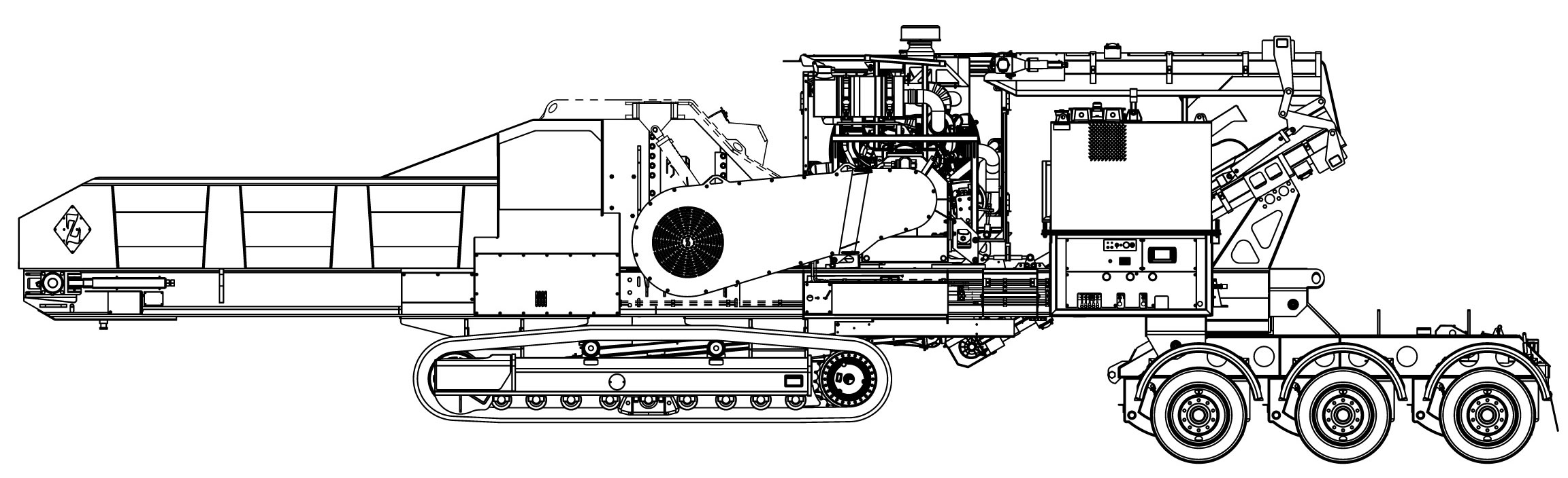 DZH4000TKT    STANDARD FEATURES : Fluid coupling mill drive, reversing fan, radio remote control, tool box, engine cover, and super-screw belt lacing.  Weights vary depending on options. Widths based on 600 mm tracks or Transporter width.  Diamond Z reserves the right to improve our products and make changes without notice. Actual products and production rates may vary.