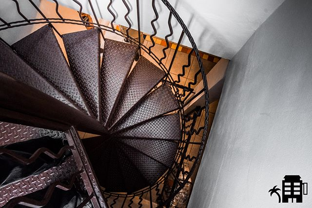 Take the spiral stairs up to the roof and experience the party from above. #spiral #fibonacci #staircase #stairwaytoheaven #rincon #puertorico #quecheverepr #custom #hechoenpuertorico #vacationpuertorico #adventure #wanderlust #travel #destination #pueblolife #rinconlife #spiralstaircase #iron #gethigh #terrace