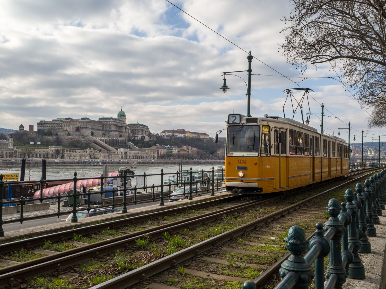The number 2 tram passes along the Danube.