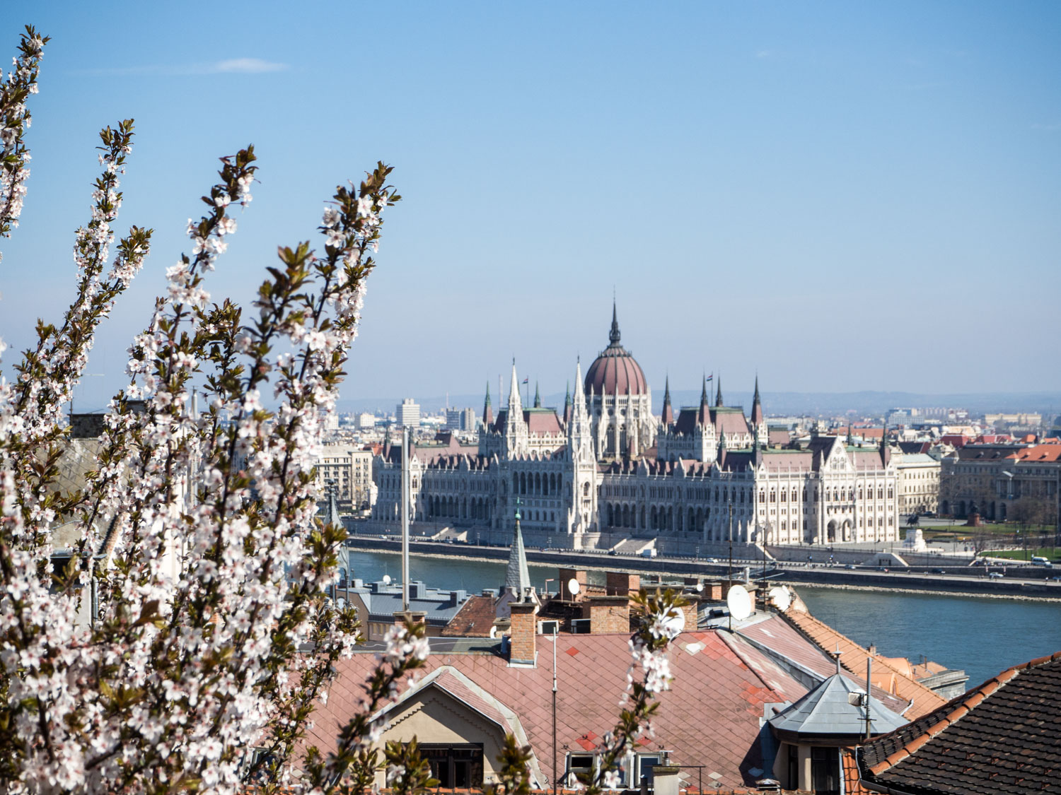 Budapest Parliament seen from the Buda side of the river.