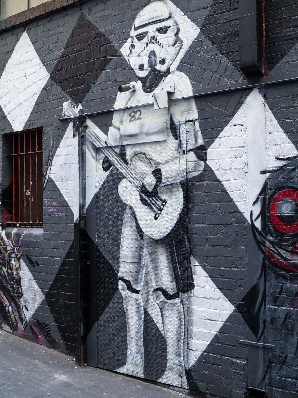 A Stormtrooper guarding AC/DC Lane, Melbourne.
