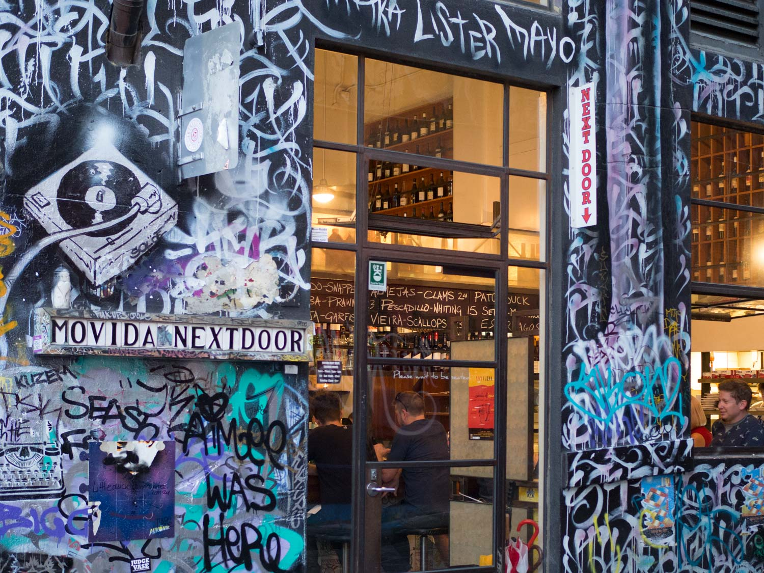Movida on Hosier Lane is a great place to eat after exploring the lane ways.