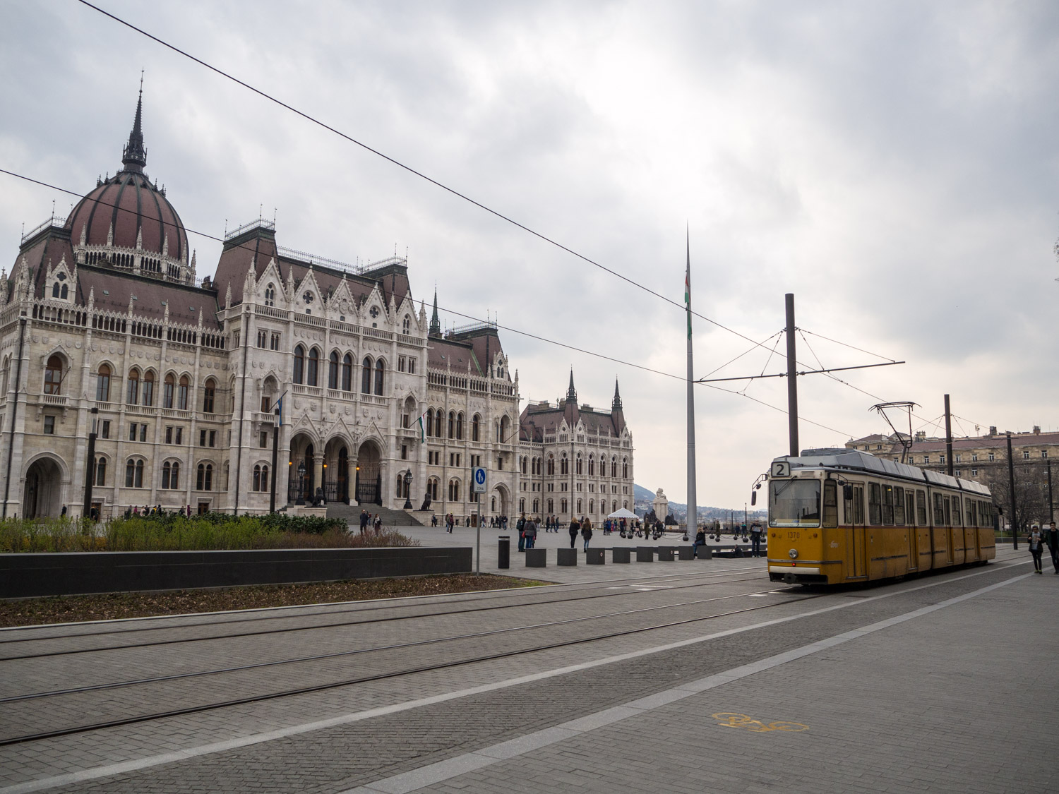 Number 2 tram passes in front of Hungary's Parliament in Budapest.