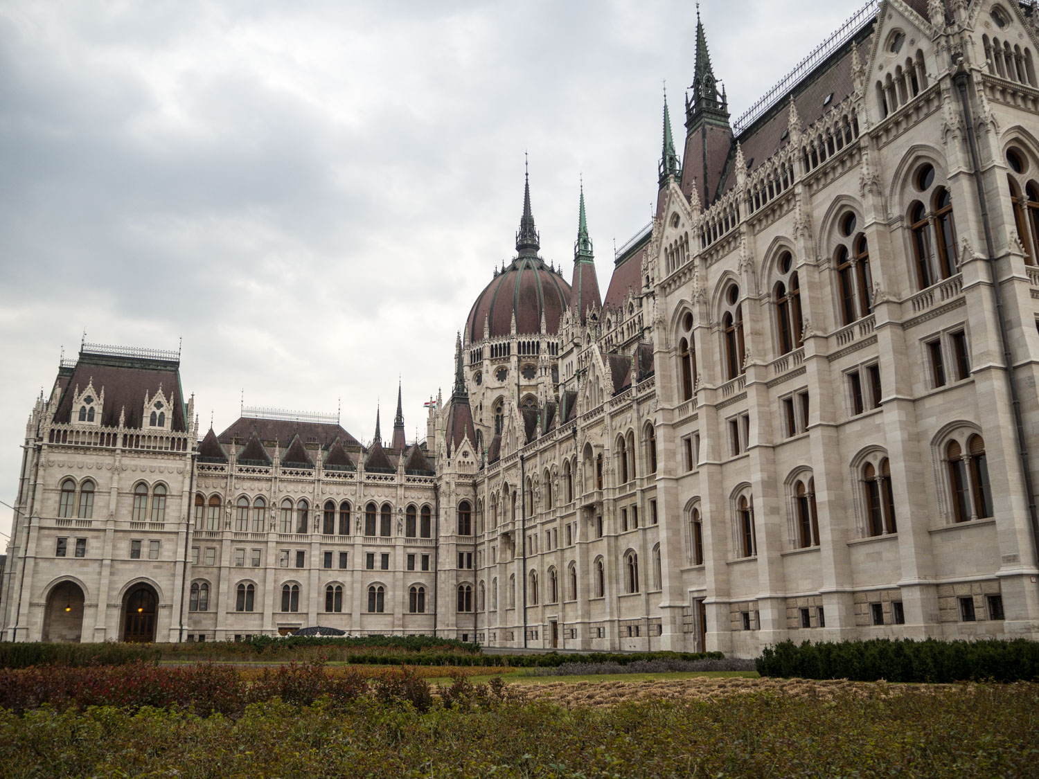 Gardens in front of Budapest Parliament, Hungary.