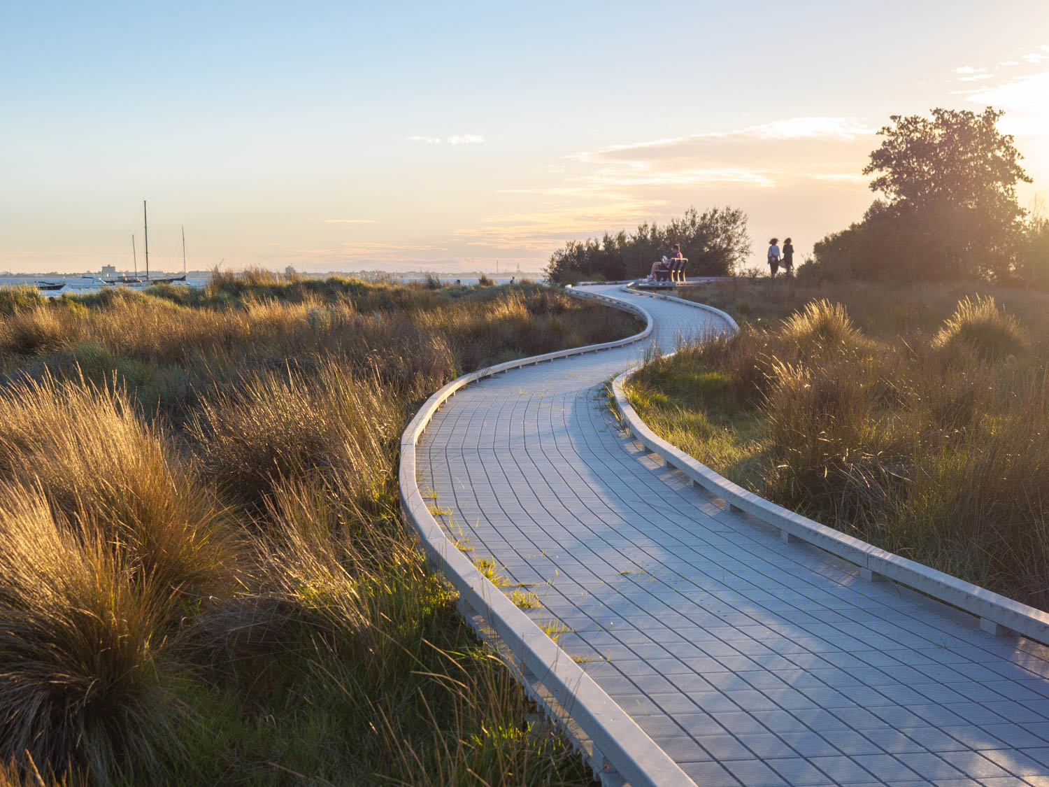 Great walkways through the reeds at St Kilda beach, Melbourne.