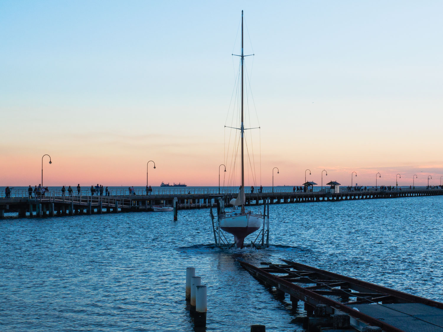 Boat launch by St Kilda Pier, Melbourne.