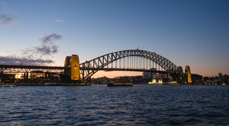 Admiring the Sydney Harbour Bridge at dusk