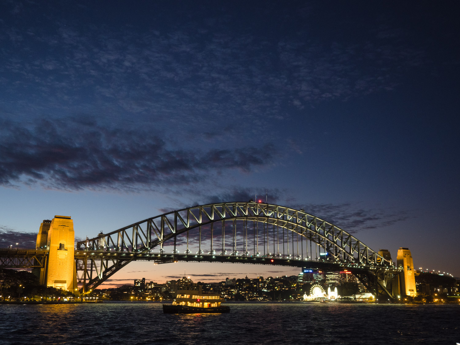 Wonerful cloud formations over the Harbour Bridge in Sydney.