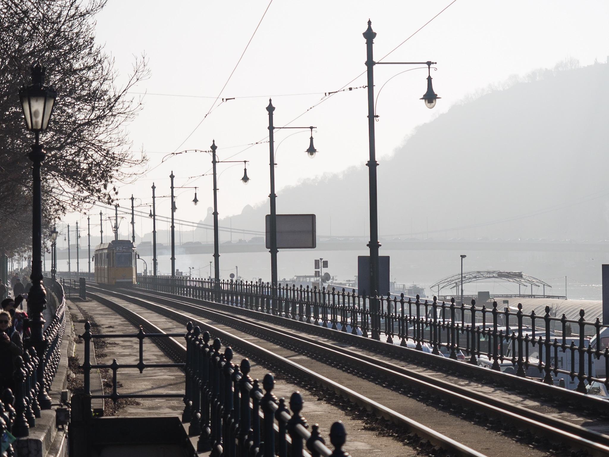 Budapest tram through the mist.