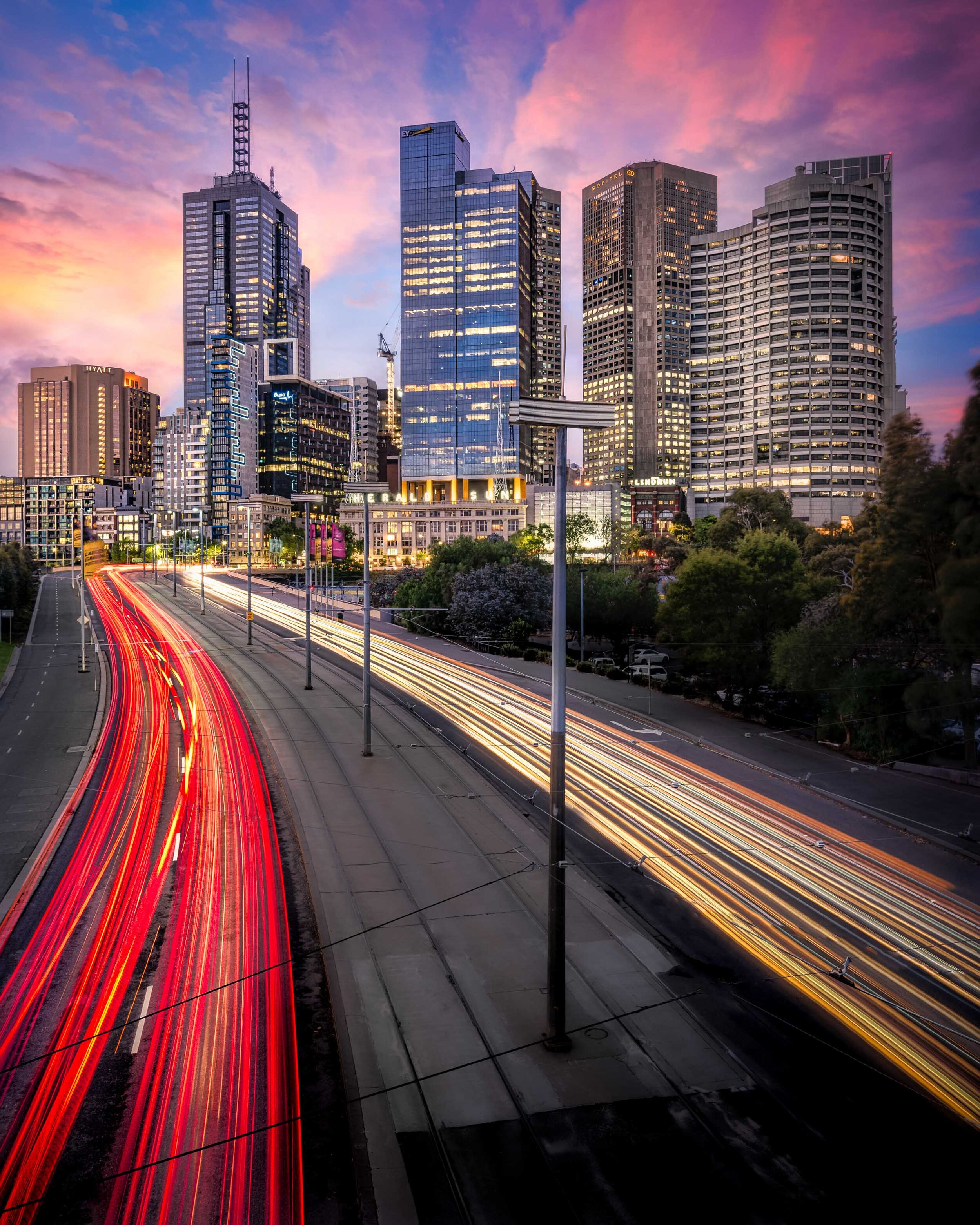 Melbourne Skyline Light Trails | Andrew Robins Photography