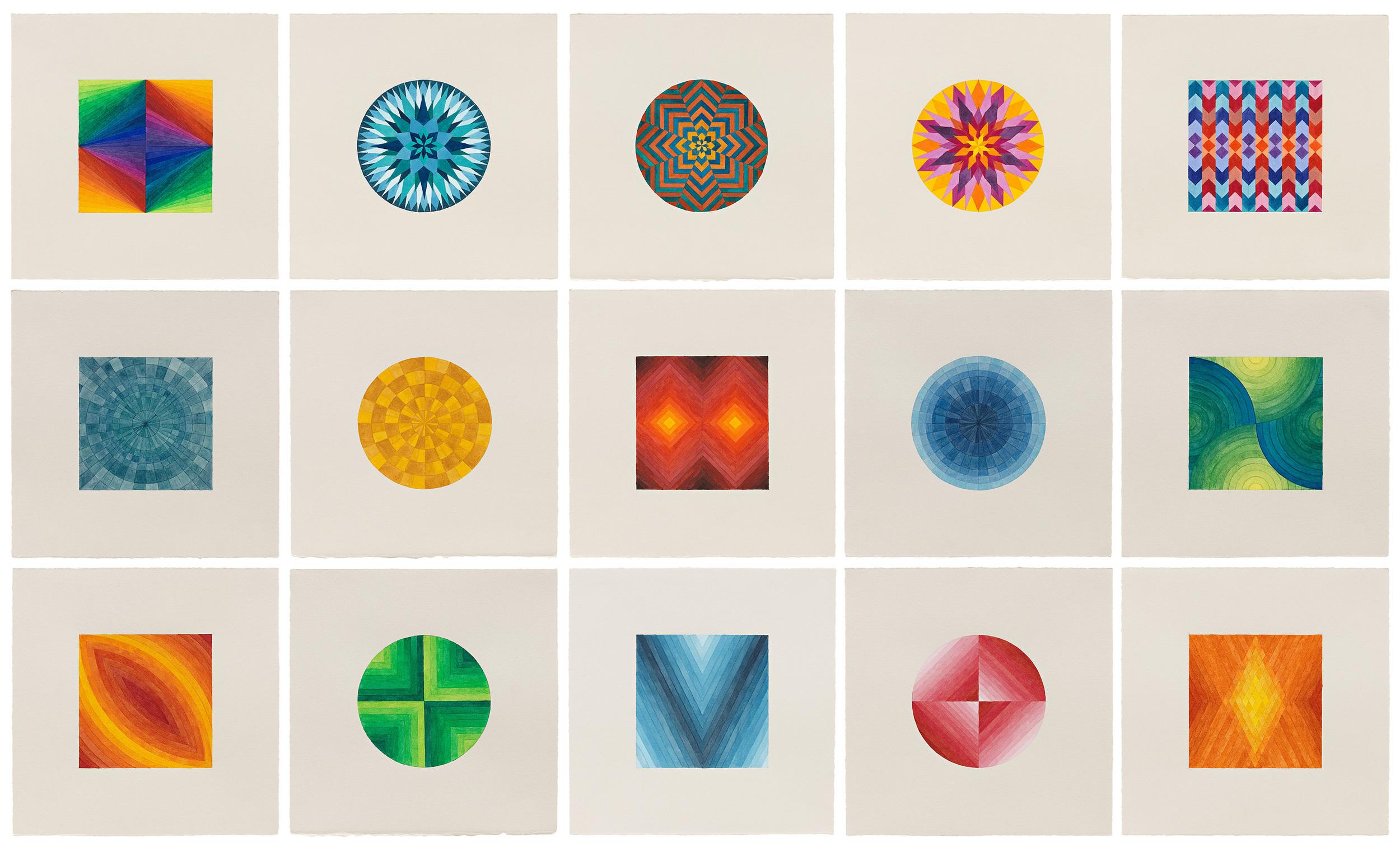 Grid of fifteen 10 x 10 inch drawings 2015-2016