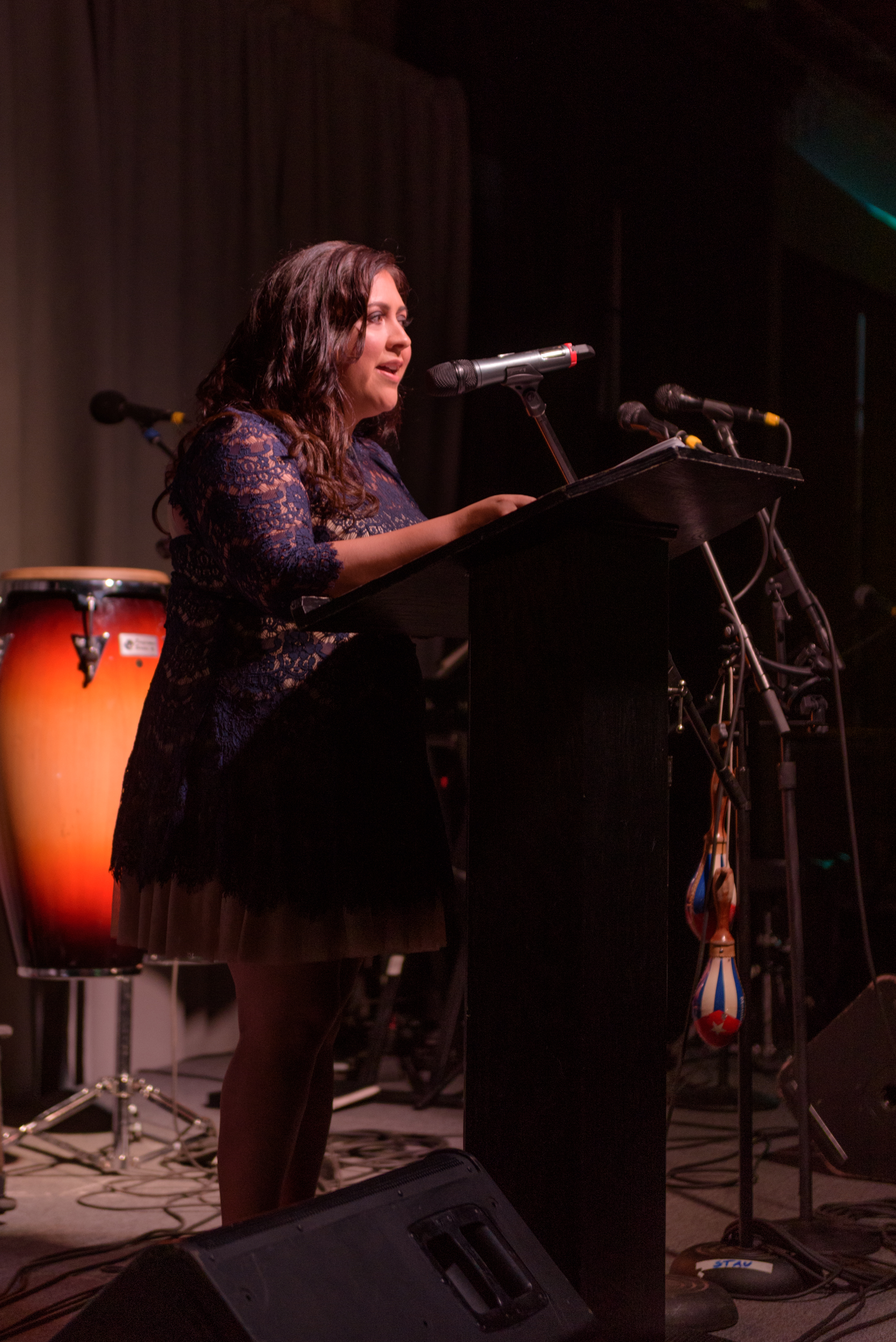 Executive Director Carmen Rubio spoke of the positive growth and transformation of the Latino community at Noche Bella.
