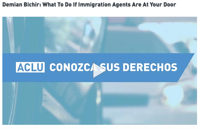 What to do if ICE agents are at your front door    video (English)     Qué hacer si ICE está en la puerta de tu casa     video (Español)