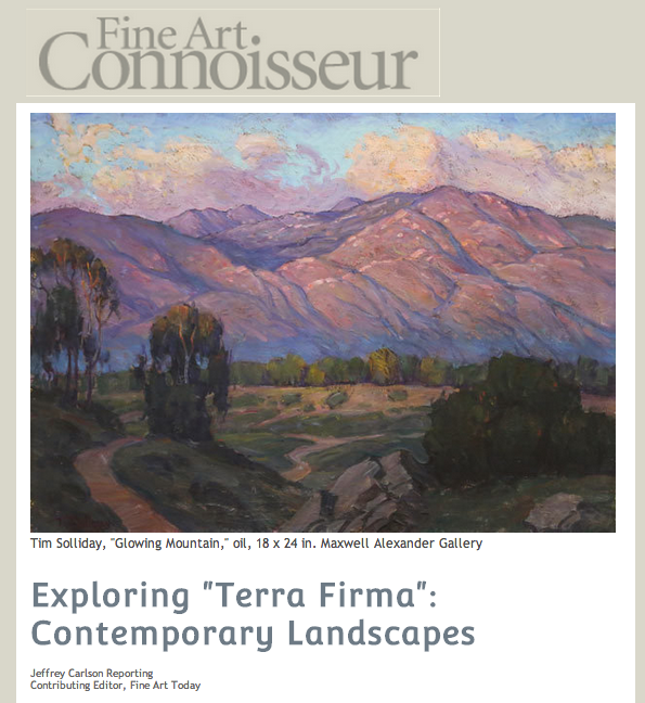"Exploring ""Terra Firma"": Contemporary Landscapes  Jeffrey Carlson Reporting  Contributing Editor, Fine Art Today   An exciting new gallery committed to displaying ""the new breed of fine art,"" Maxwell Alexander Gallery hosts a landscape exhibition that should not be missed."