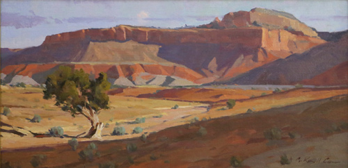 "G. Russell Case, ""Single Tree,"" oil, 10 x 20 in. Maxwell Alexander Gallery"