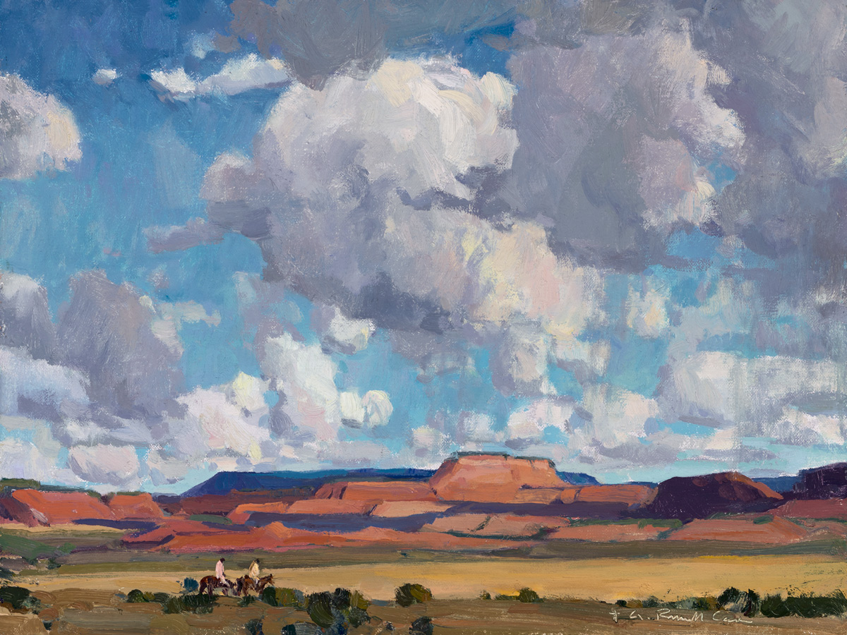 """G. Russell Case """"Riders at Long Mesa"""" 12″x16″ Oil"""