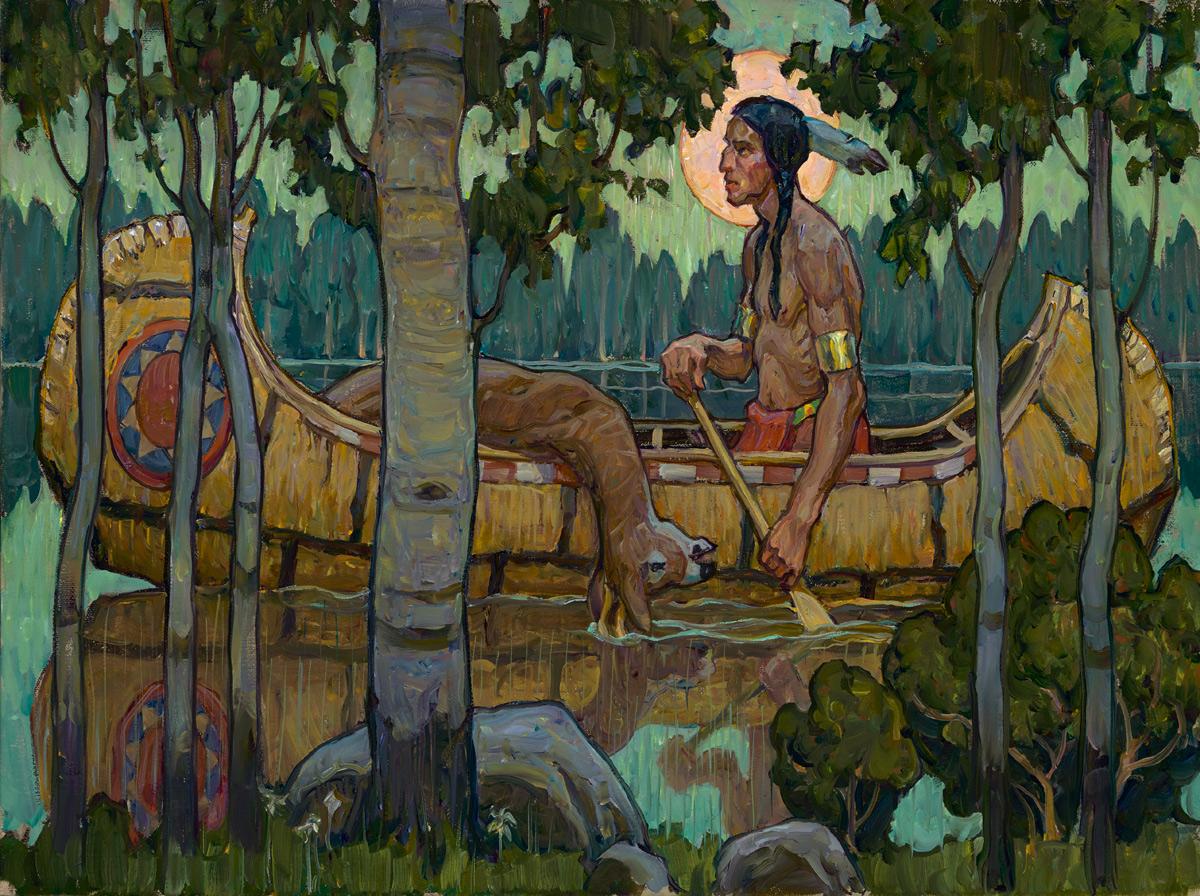 "(SOLD) Tim Solliday ""Hunter's Moon"" 18″x24″ Oil"