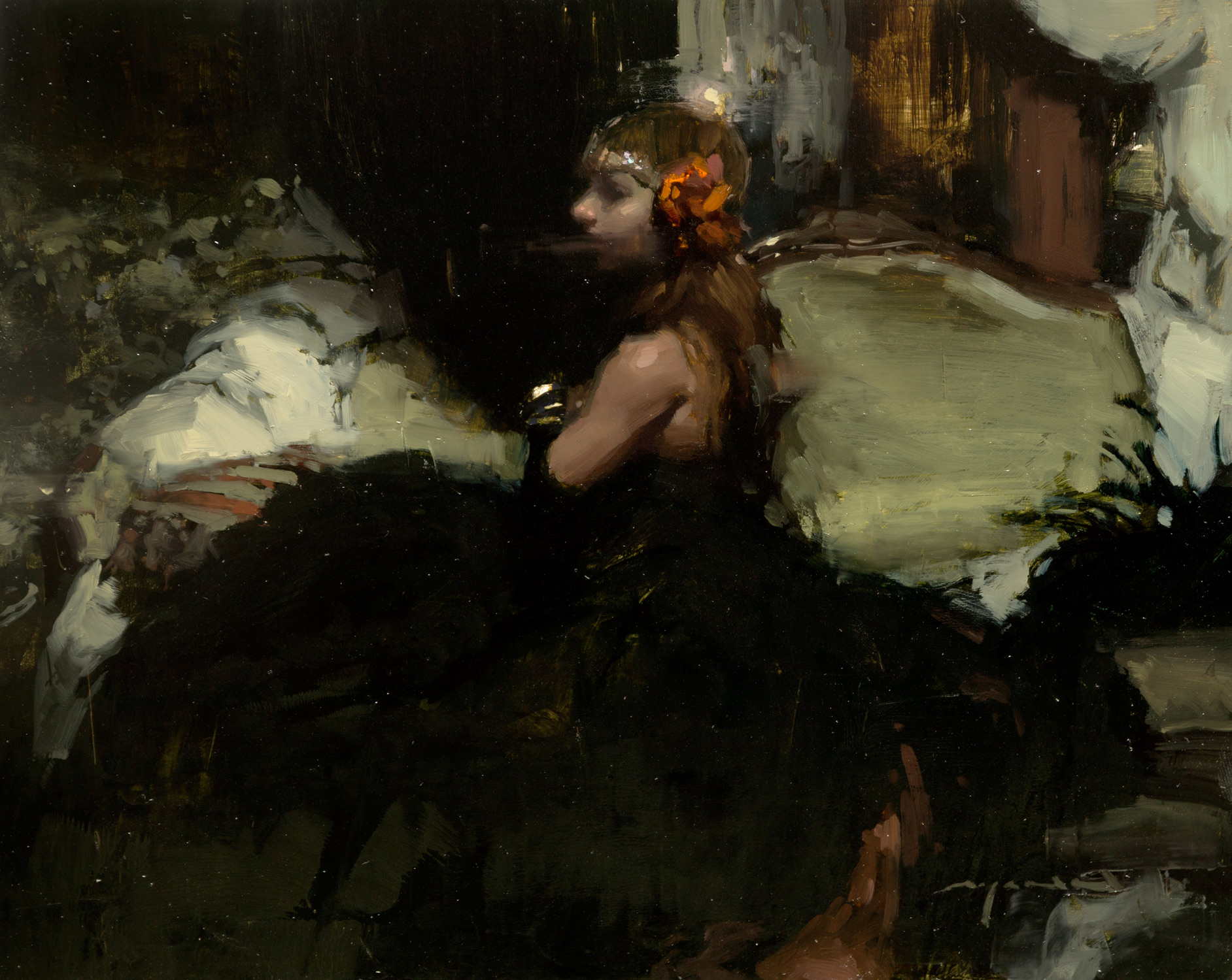"""(SOLD) Jeremy Mann """"Figure Composition in Black and Green"""" 8″x10″ Oil"""