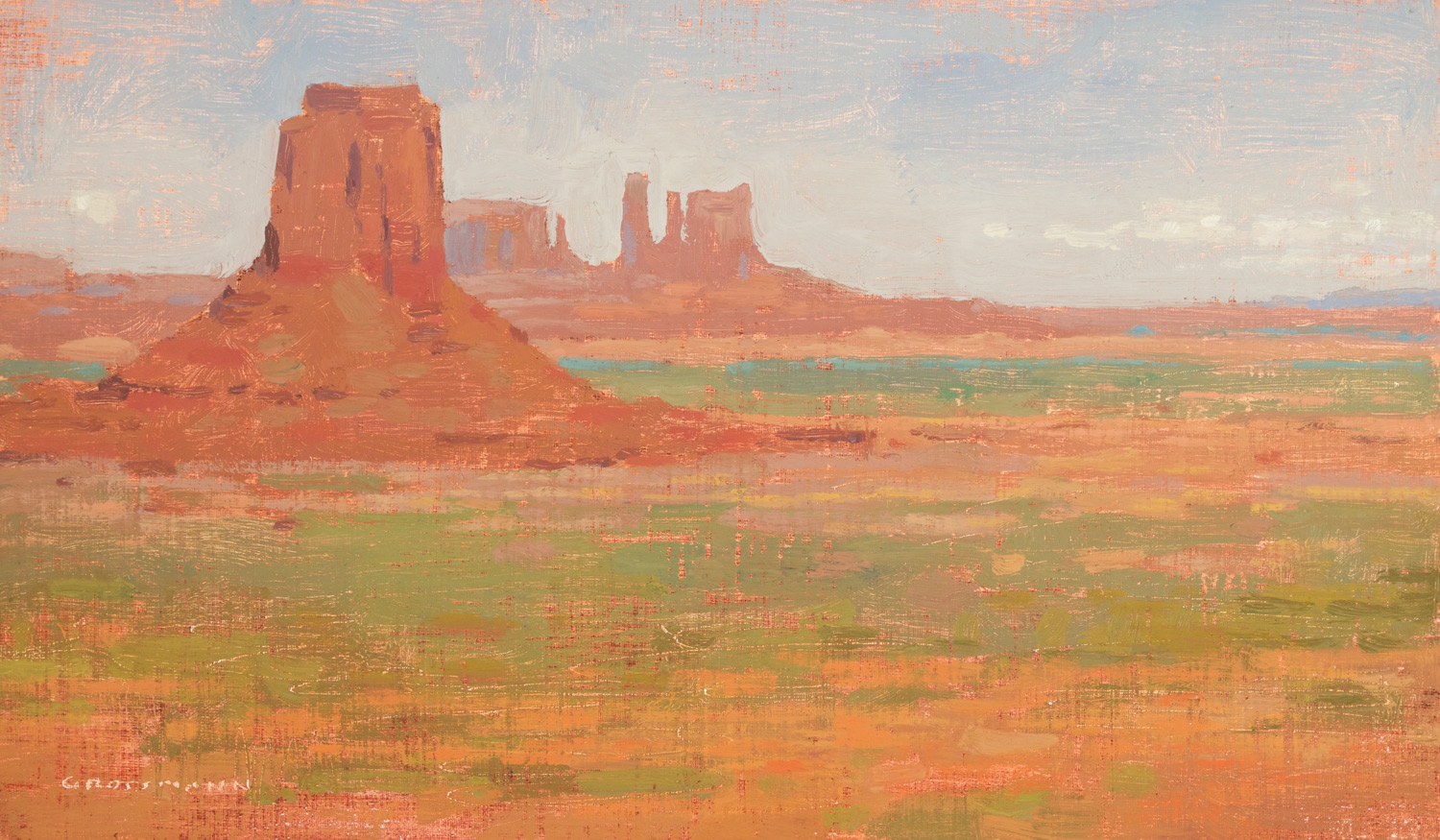 """(SOLD) David Grossmann """"Afternoon Light, Monument Valley Formation"""" 7″x12″ Oil"""